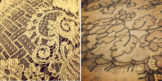 Vintage lace (left) and Chantilly lace (right)